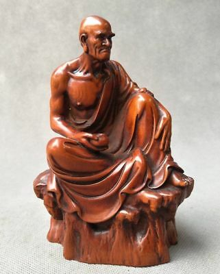Exquisite China Boxwood fine Hand carved Buddha barefoot Lohan statue