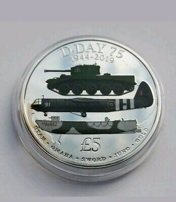 D-DAY 75th ANNIVERSARY, 1944 - 2019 Five pound Coloured Coin - B U.  IN CAPSULE