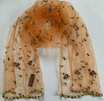Orange Shear Womans Ladies Lightweight Floral Scarf Wrap Poly Voile Rose Buds