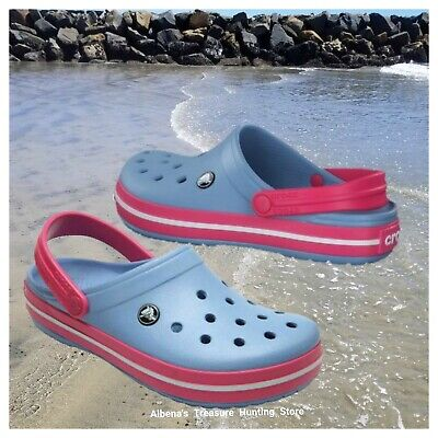 8ca3fe32bbb6a8 NWT CROCS Crocband Women Men Adult Clogs Chambray Blue Pink SELECT SIZE