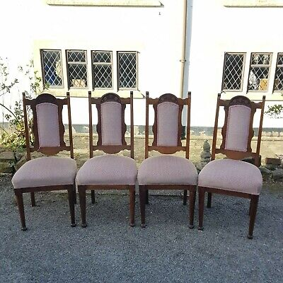 A Set of 4 Antique Pretty Edwardian Oak High Back Dining Chairs Need Some TLC