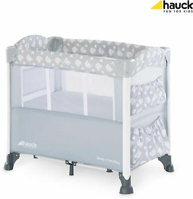 Hauck SLEEP'N CARE PLUS - TEDDY GREY Baby Care Travel Cot Portable BN