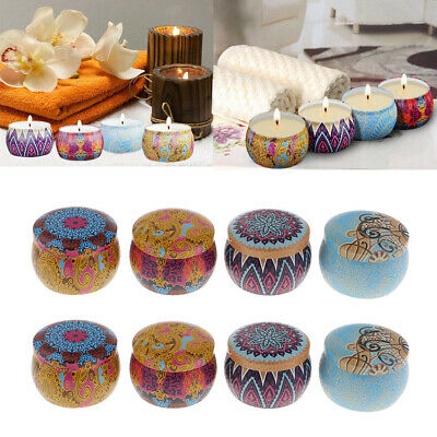 8Pcs National Style Metal Scented Candle Natural Soy Wax Portable Tin Candle