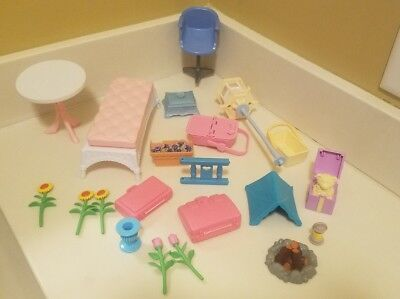 Mattel Vintage Barbie Doll Furniture 1998 Doll house Table Chairs flowers tent
