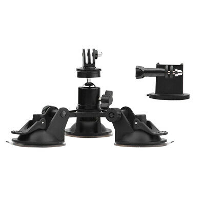 Car Triple Suction Cup Mount with 360 Degree Tripod 1/4 Ball Head Adapter B