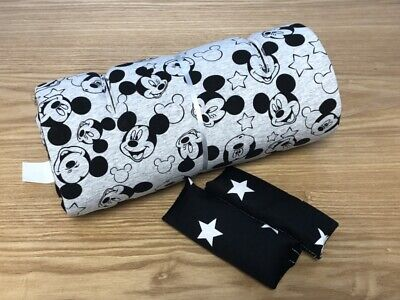 Grey Black stars Mickey Mouse Disney Seat Liner Stroller Mattress 100% Cotton