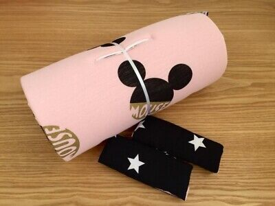Pudra Pink Black Minnie Mouse Disney Seat Liner Stroller Mattress 100% Cotton