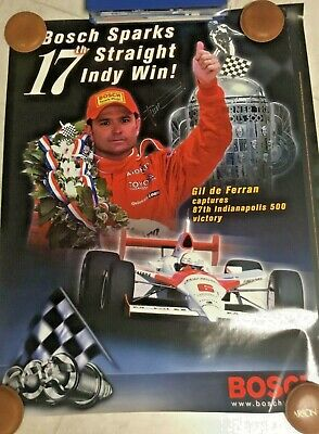 Indianapolis Indy 500 Hand Signed GIL DE FERRAN 2003 BOSCH Sparkplugs Poster