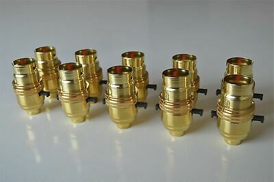 10 Brass Switch Bayonet Fitting Lamp Bulb Holder Lamp Shade Ring 1/2 Inch R1