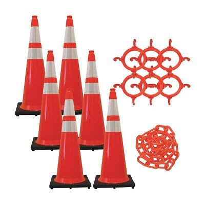 """36"""" Safety Traffic Cones and Chain Kit Orange Reflective Collars 6pk"""