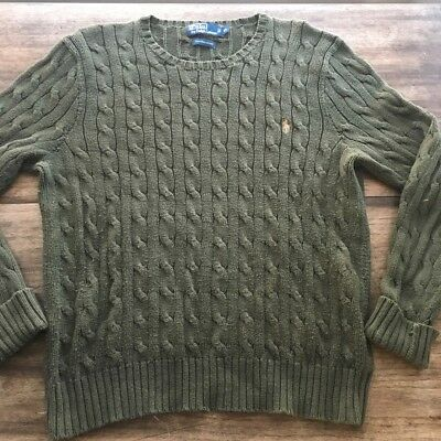 b9ee1c3298c642 Polo By Ralph Lauren Green Cable Knit Sweater Size XL Crew Neck Pima Cotton
