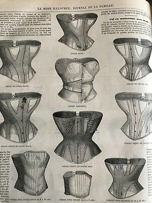 MODE ILLUSTREE SEWING PATTERN Nov 7,1869 - SPECIAL CORSETS + blouses