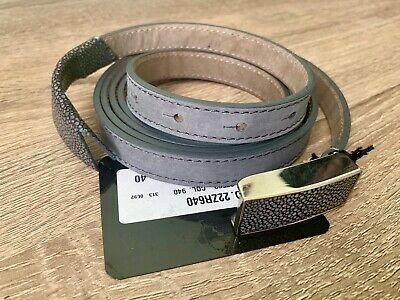 COSTUME NATIONAL Double Wrap Gray Leather Silver Buckle Belt US4 IT40 $200