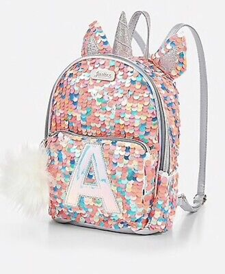 NWT JUSTICE Girls Unicorn Initial Flip Sequin Mini Backpack ~ YOU CHOOSE  LETTER! 44f26e43a1199