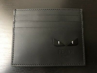 0bd522466bdf NEW Authentic Fendi Bag Bugs Monster Leather Card Case Holder Wallet Black
