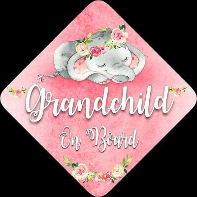 Non Personalised Child / Baby On Board Car Sign ~Sleeping Elephant ~ Grandchild
