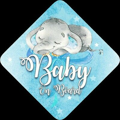 Non Personalised Child / Baby On Board Car Sign ~Sleeping Elephant ~ Baby Blue