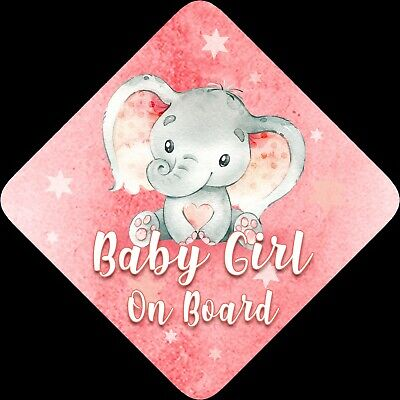 Non Personalised Child / Baby On Board Car Sign ~ Baby Elephant ~ Baby Girl