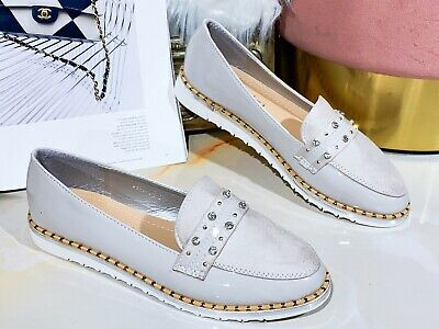 Womens Ladies Flat Creeper Chunky Sole Ballerina Loafers Ballet Dolly Pumps Size