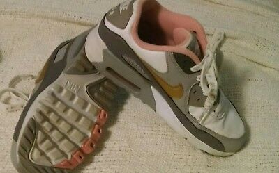4ac450a6c2 NIKE AIR MAX 90 Leather GS # 833376 011 Gun Smoke Gold Big Kids SZ 4 ...