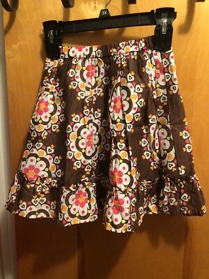 Girl Carters Brown With White, Pink, Orange, Yellow Design Skirt Flowers Size 5