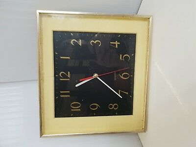 "Vintage Retro Quartz 31"" Square Wall Clock cream gold black"