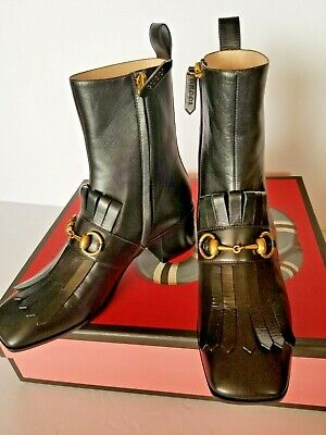 4e61d39b206 NWT - GUCCI Leather Ankle Boot with Sylvie Web SIZE 38 - $899.00 ...