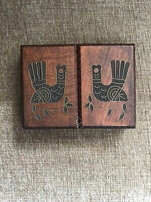 Vintage Wooden Carved Trinket Box Jewelry Box Hand Made in Poland card holder