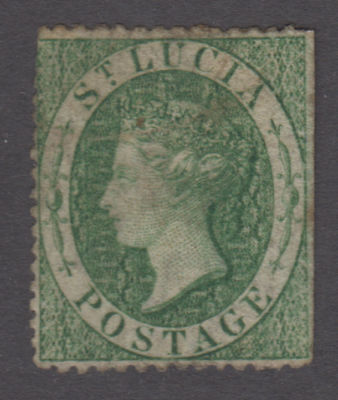 St. Lucia - 1860 (6p) Green. Sc. #3, S.G. #3. Used faulty.