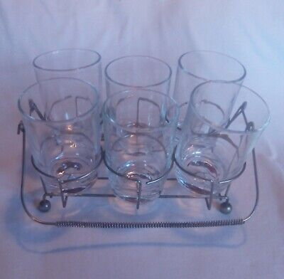 Vintage Early Retro Caddy and Original Glasses Set