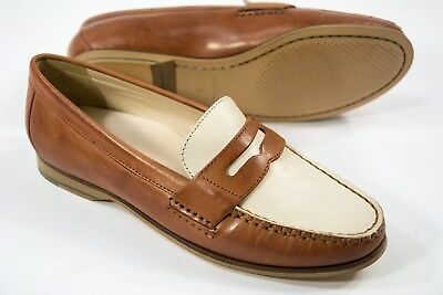 2c36f2c7c71 Women s Cole Haan size 5 Tan Ivory Leather Emmons Penny Loafer Slip On Shoes  NEW