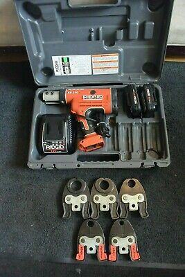 "Ridgid Brand Porpress 18v Crimper Set Model RP210 5 PEX Jaws 1/2"" through 1-1/2"""
