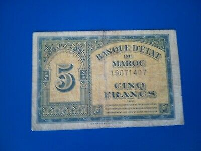 Banknote 1943 Morocco 5 franc note(F).