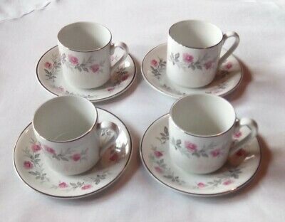 Vintage MYOTT  Cup and Saucer Set of 4 Grey and Pink Rose ENGLAND