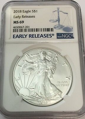 2019 NGC MS69 Silver Eagle EARLY RELEASES Blue Label