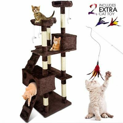 Large Cat Tower 66.9-Inch Multi-Level Cat Tree with Cat WandScratching PostsI...