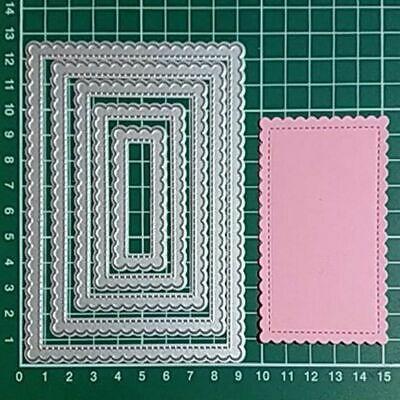 Stitched Rectangle Scallop Frame Metal Cutting Dies Steel Craft Cuts Embossing