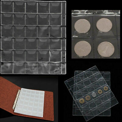 New 1X 30 Classic Coin Collection Storage Album Page Folder Clear Pockets Holder