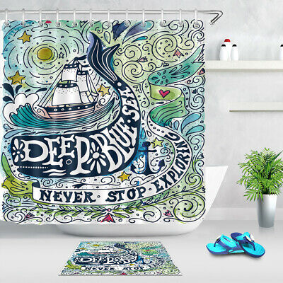 Shower Curtain Waterproof Fabric Watercolor Vintage Ship Whale Hand Lettering