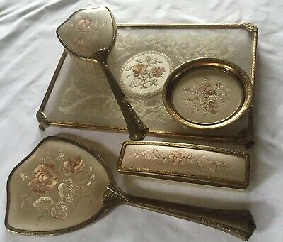 VINTAGE  LACE & PETIT POINT VANITY TRAY DRESSING TABLE ACCESSORIES X5 Pieces
