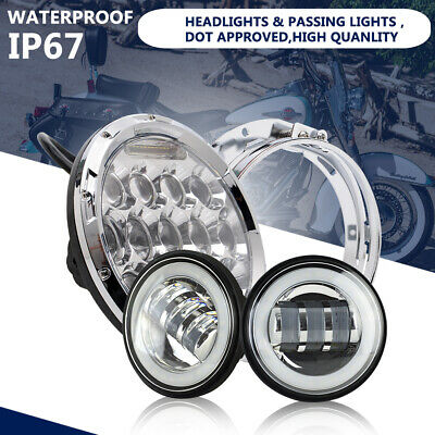 "7"" Chrome LED Projector Headlight DRL+ 2x 4.5""Passing Lights For Harley"