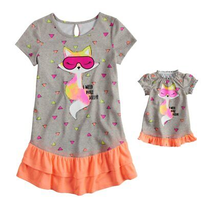 NWT Girls Fox Nightgown Matching Doll Gown Set Fits American Girl Dollie    Me 8a8789ae1