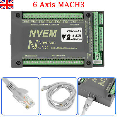 NVEM CNC Controller 6 Axis MACH3 Ethernet Interface Motion Control Card Board UK