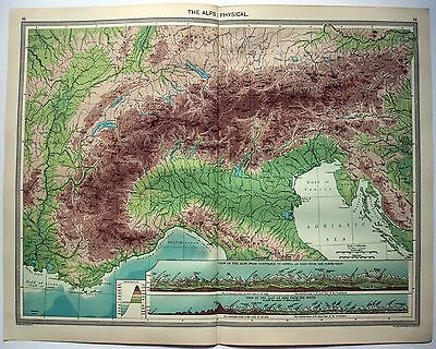 Original Physical Map of The Alps by George Philip c1906. Austria Switzerland