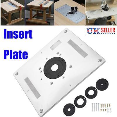 Aluminum Router Table Insert Plate w/ 4 Rings Screws For Woodworking Benches UK