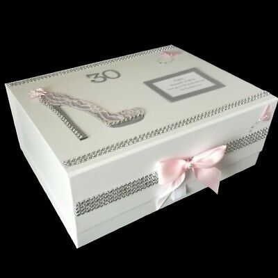 Personalised 30th Birthday Gift For Her Large Keepsake Memory Pink Grey Friend