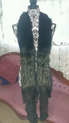 HUGE SILVER FOX Fur boa Stole Double Pelt Black vintage wrap scarf shawl 4 coat