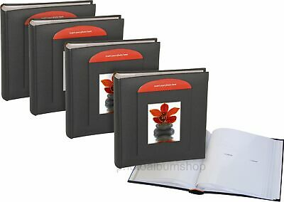 4 x Black Buckram 6x4 slip-in 200 archival photo albums with window * FOUR-PACK