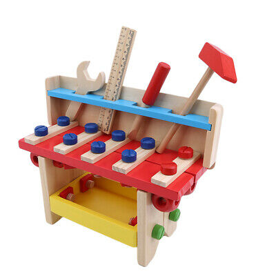 Childrens Kids Wooden DIY Construction Work Bench Tool Set Play Toys 8C