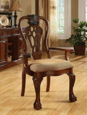Antique Upholstered Dining Arm Chair Set of 2 Carved Padded Seat Wood Beige Home